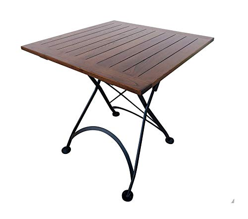 "Patio Outdoor Garden Premium Bistro Folding Table, Jet Black Frame, 32"" x 32"" x 29"" Height, Square European Chestnut Wood Slat Top with Walnut Stain"