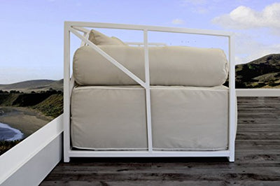 Solis Patio Nidum Indoor and Outdoor Deep Seated Powder Coated Steel Patio Modern Daybed Sofa, White/Beige