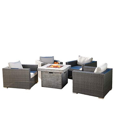 Christopher Knight Home GDF Studio | Soleil | Outdoor 4 Piece Wicker Club Chair Set with Square Fire Pit | in Grey Cushions