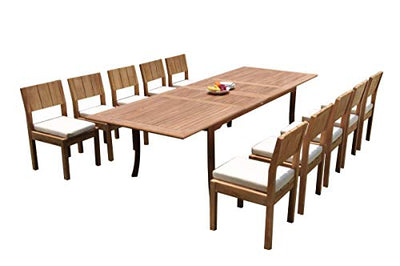 "WholesaleTeakFurniture Grade-A Teak Wood 10 Seater 11 Pc Dining Set: 118"" Double Extension Rectangle Table and 10 Veranda Armless Chairs #21VR1411"