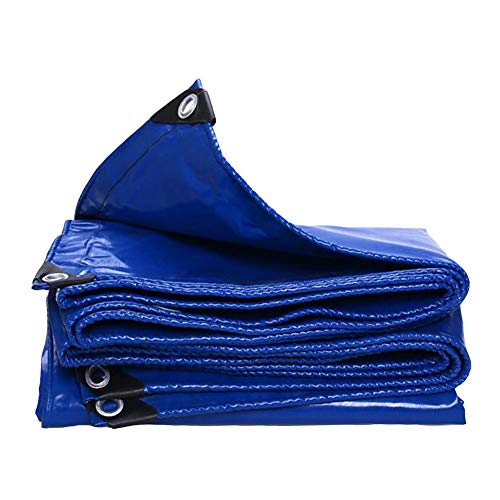 Dall Tarpaulin Heavy Duty Double Sided Waterproof Sunscreen Outdoor Rain Cloth 530g/m² Thickness 0.45mm (Color : Blue, Size : 6×8m)