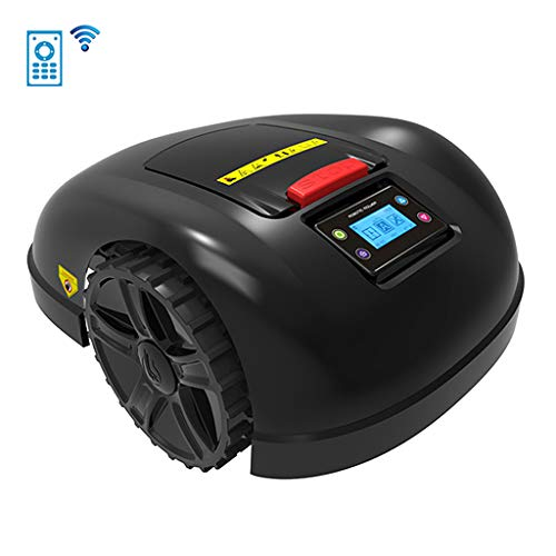 LCD Waterproof Automatic Charging Robotic Lawn Mowers, Smart WiFi Lithium-Ion Robot Lawn Mower for Garden 800-1300M², Rain Protection Obstacle Avoidance Timing Anti-Theft Lawnmower,A,13.2Ah