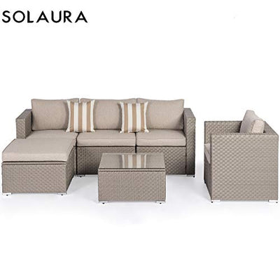 SOLAURA Outdoor Furniture Set 6-Piece Wicker Furniture Modular Sectional Sofa Set Grey Wicker with Light Grey Olefin Fiber Cushions & Sophisticated Glass Coffee Table with Farbic Cover