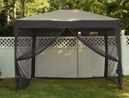 Jjoy- Charcoal Polyester Aluminum Frame Pop Up 10' x 10' -Screened in Gazebo-Gazebo with Mosquito Netting-Additional Shade for Your Outdoor Events