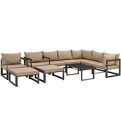 "10 PC Outdoor Patio Sectional Dimensions: 178""W x 120""D x 32.5""H Weight: 292 lbs Brown Mocha"