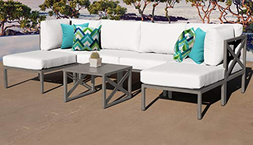 TK Classics CARLISLE-07b-WHITE Carlisle 7 Piece Outdoor Wicker Patio Furniture Set 07b, Sail White