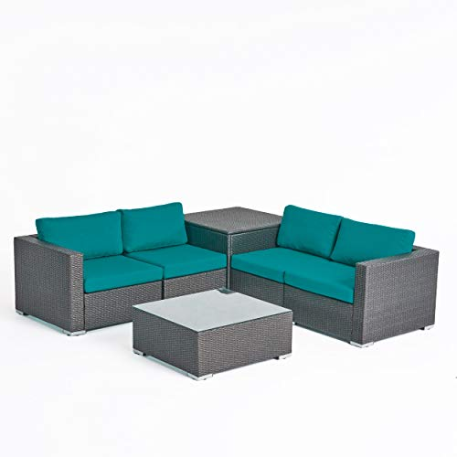 Great Deal Furniture Isabel Rosa Outdoor 4 Seater Wicker Sofa Set with Storage Ottoman and Sunbrella Cushions, Gray and Sunbrella Canvas Teal