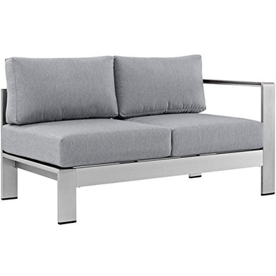 Modern Contemporary Urban Outdoor Patio Balcony Seven PCS Sectional Sofa Set, Grey Gray, Aluminum