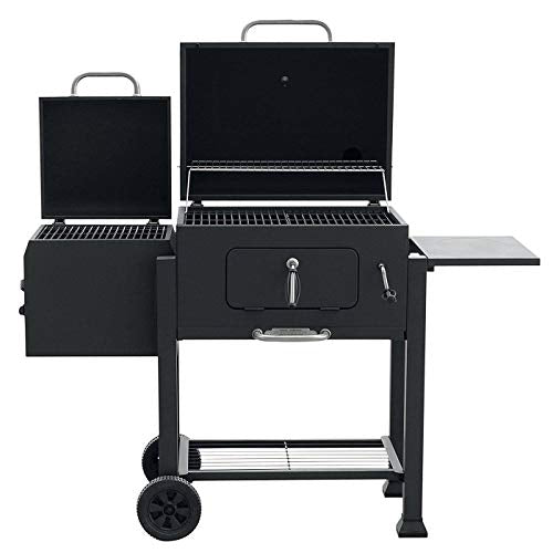 MRT SUPPLY Heavy Duty Steel Vista Charcoal Grill with Offset Smoker Box, Black with Ebook