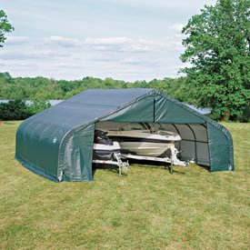 ShelterLogic Peak Style 30ft.W Garage/Storage Shelter - Green, 20ft.L x 30ft.W x 16ft.H, 2.375in. Frame, Model Number 86044