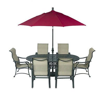 Patio Furniture Outdoor Cast Aluminum 9pc Sling Poolside Set Trinity Bronze