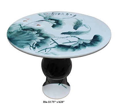 Chinese White Porcelain Green Lotus Fish Theme Round Table Acs2806