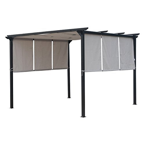 Great Deal Furniture 304383 Dione Outdoor Steel Framed 10' Gazebo, Grey, Brown