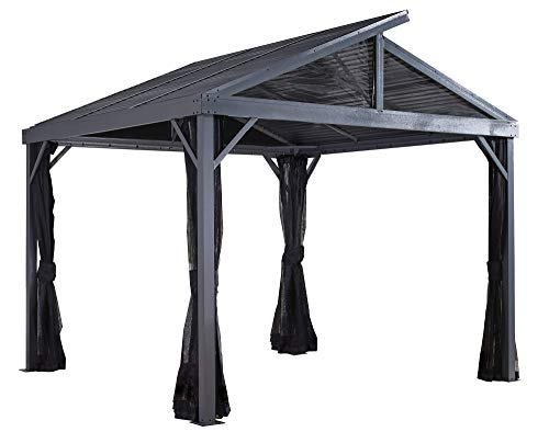 Sojag 10' x 10' Sanibel II Hardtop Gazebo Outdoor Sun Shelter with Mosquito Netting, Light Grey