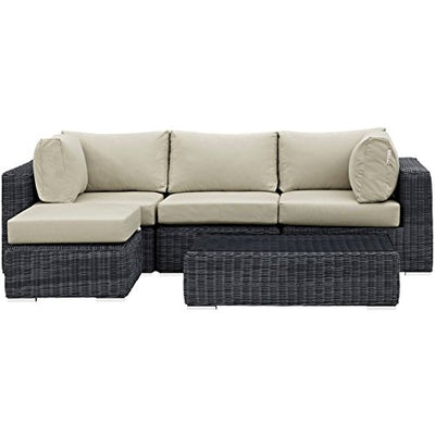 Modern Contemporary Urban Design Outdoor Patio Balcony Five PCS Sectional Sofa Set, Beige, Rattan
