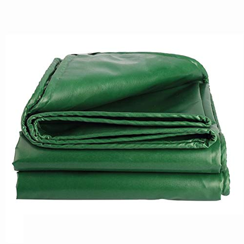 Dall Tarpaulin 550 G/M² Thickness 0.4mm PVC Coating Waterproof Multipurpose Heavy Duty Sunscreen Foldable Multiple Sizes (Color : Green, Size : 5×10m)