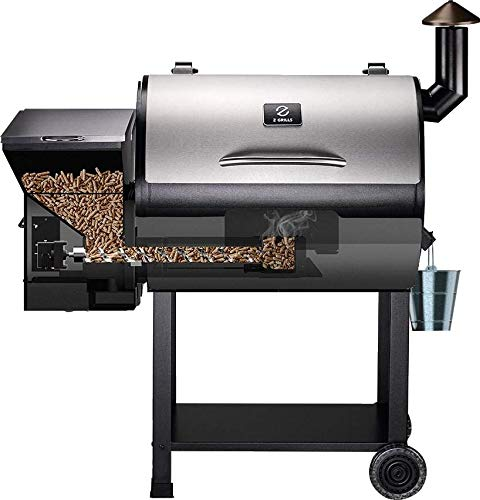 Z GRILLS 2019 Heavy Duty Wood Pellet Grill & Smoker, 8 in 1 BBQ Grill Digital Temperature Control, 700 sq inch Cooking Area, Silver Cover Included, Heathy BBQ Life!