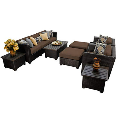 TK Classics 10 Piece Barbados-10C Outdoor Wicker Patio Furniture Set, Cocoa
