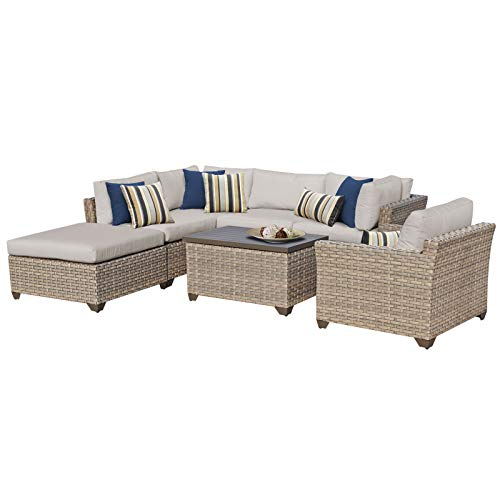 HomeRoots 7 Piece Outdoor Wicker Patio Furniture Set 07d - Beige, Made of PE Resin with Powder Coated Aluminum Finish