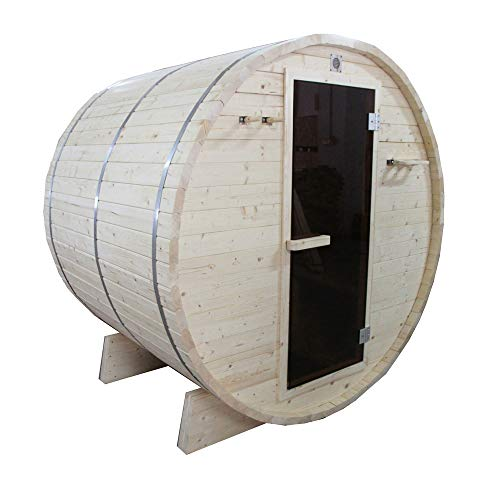 ALEKO SB4PINE White Pine Indoor Outdoor Wet Dry Barrel Sauna with 4.5 kW ETL Certified Heater 4 Person 60 x 72 x 75 Inches