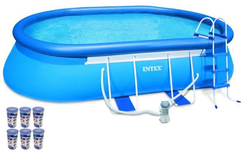 "Intex 18' x 10' x 42"" Oval Frame Swimming Set with 1000 GPH GFCI Filter Pump"