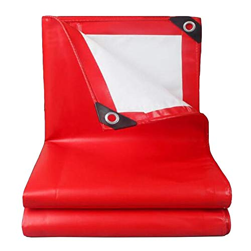 Dall Tarpaulin Waterproof Heavy Duty 500g/m² Thickness 0.45mm Outdoor Wear-Resistant Durable Multiple Sizes (Color : Red, Size : 6×8m)