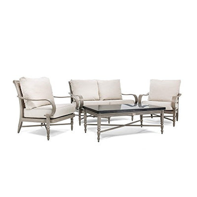Blue Oak Outdoor Saylor 4PC Patio Furniture Conversation Set (Loveseat, Aluminum Top Coffee Table, 2 Lounge Chairs) with Outdura Remy Sand Cushion