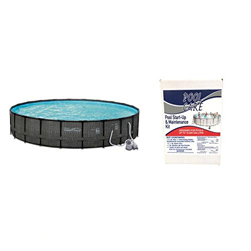 "Summer Waves 24' x 52"" Above Ground Pool w/Sand Pump + Qualco Pool Chemical Kit"