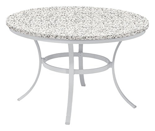 "Oxford Garden TV48TAH Powder Coated Aluminum Frame Lite-Core Granite Ash Top Travira 48"" Round Dining Table"