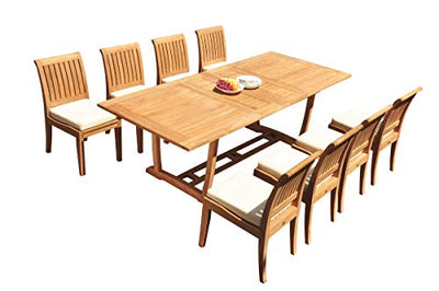"WholesaleTeakFurniture Grade-A Teak Wood 8 Seater 9 Pc Dining Set: 94"" Double Extension Mas Rectangle Trestle Leg Table and 8 Lagos Armless Chairs #21LG1109"