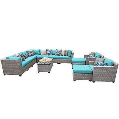 TK Classics FLORENCE-13a-ARUBA 13 Piece Outdoor Wicker Patio Furniture Set, Aruba