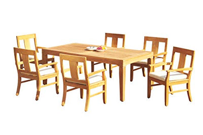 "WholesaleTeakFurniture Grade-A Teak Wood 6 Seater 7 Pc Dining Set: 122"" Caranas Double Extension Rectangle Table and 6 Osborne Arm Chairs #21OS1907"