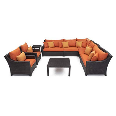 RST Brands OP-PESS9-TKA-K Tikka 9-Piece Corner Sectional Sofa and Club Chairs Set
