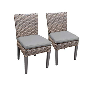 "TK Classics Oasis 60"" Outdoor Patio Dining Table with 6 Armless Chairs, Wheat"