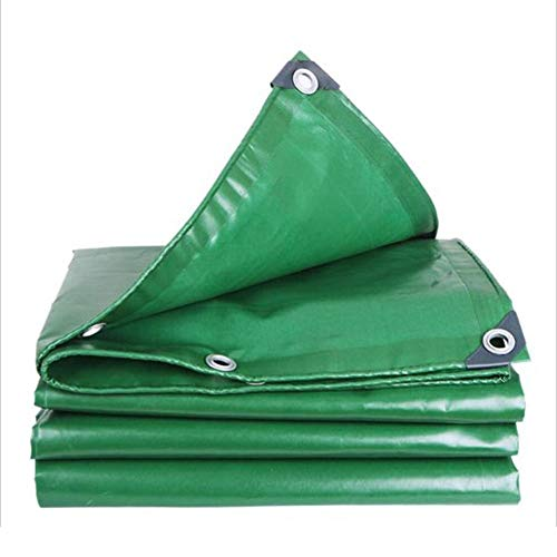 Dall Tarpaulin Multipurpose Waterproof Sun Protection Thickening PVC Rain Cloth Foldable Cold Resistant 500g/m² (Color : Green, Size : 6×8m)