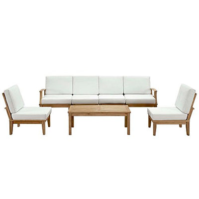 "7 Pc Outdoor Patio Teak Sofa S Natural White Dimensions: 70""W X 150""D X 31.5""H Weight: 345 Lbs"