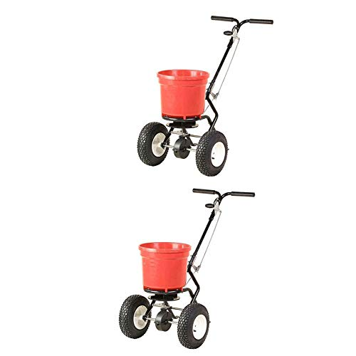 MRT SUPPLY 50 LB Commercial Broadcast Walk Behind Garden Seed Spreader (2 Pack) with Ebook