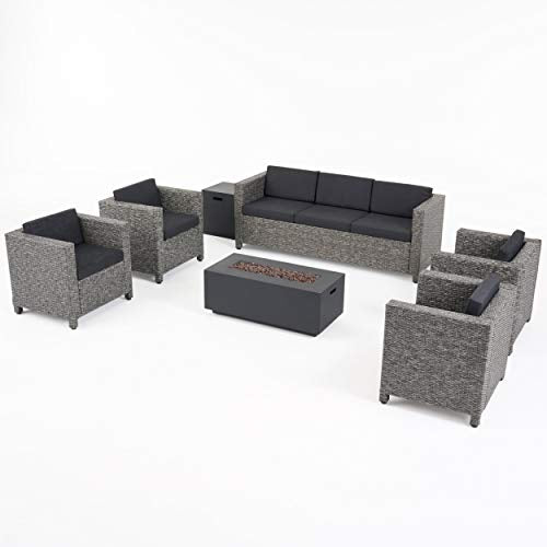 Great Deal Furniture Mignon Outdoor 7 Seater Wicker Chat Set with Fire Pit, Mix Black and Dark Gray