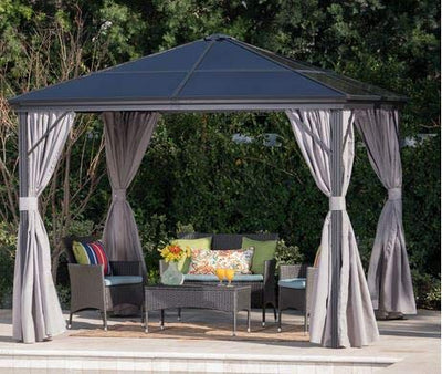 Black Polycarbonate Roof Aluminum Frame 10' W x 10' D with Grey Curtain- Hard Top Gazebo-Hard Top Gazeebo- Shaded Space for Gathering with Friends and Family