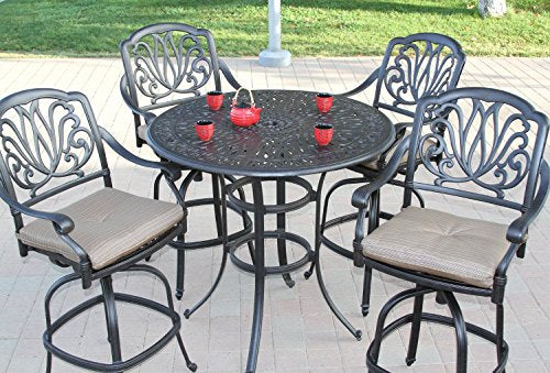 "Elizabeth Outdoor Patio 5pc Set Bar Table 48"" Dark Bronze Cast Aluminum (Walnut cushions)"