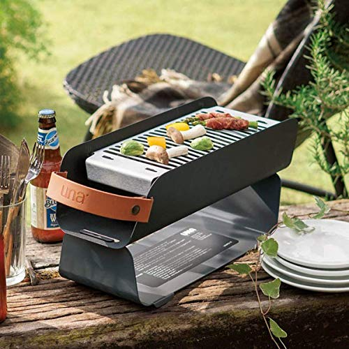 UNA GRILL Portable Outdoor Charcoal Grill  (Graphite Gray)【Japan Domestic genuine products】 【Ships from JAPAN】