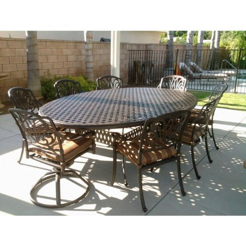 "Heritage Outdoor Living Elisabeth Cast Aluminum 9pc Dining Set 70""x100"" Egg - Antique Bronze"