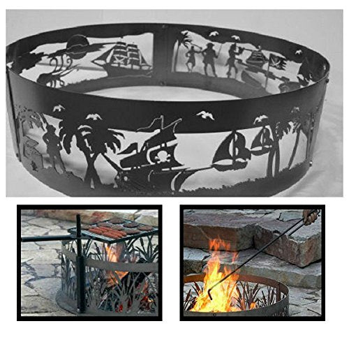 PD Metals Steel Campfire Fire Ring Pirates Life Design - Unpainted - with Fire Poker and Cooking Grill - Extra Large 60 d x 12 h Plus Free eGuide