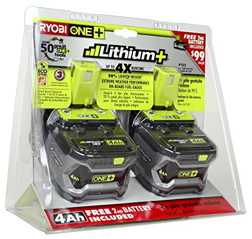 Ryobi P122 4AH One+ High Capacity Lithium Ion Batteries Power Tools (2 Pack of P108 Batteries)