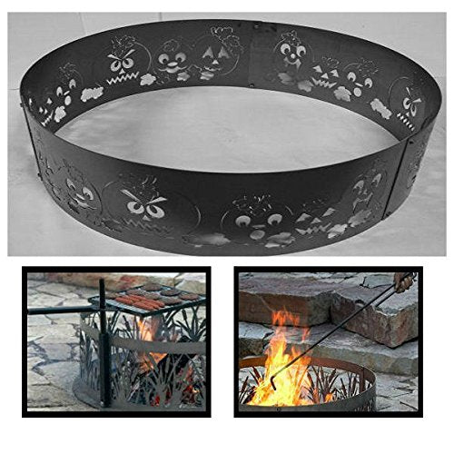 PD Metals Steel Campfire Fire Ring Autumn Harvest Design - Unpainted - with Fire Poker and Cooking Grill - Extra Large 60 d x 12 h Plus Free eGuide