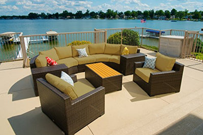 Vida Outdoor VD-PACIFIC-2CV2ET2CC1AS1CT-PALM Pacific 8 Piece Curved Wicker Sectional Set-Palm Chair