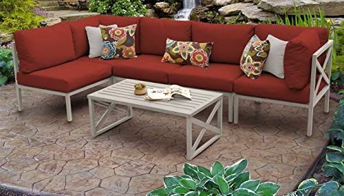 TK Classics CARLISLE-06a-TERRACOTTA Carlisle 6 Piece Outdoor Wicker Patio Furniture Set 06a, Terracotta