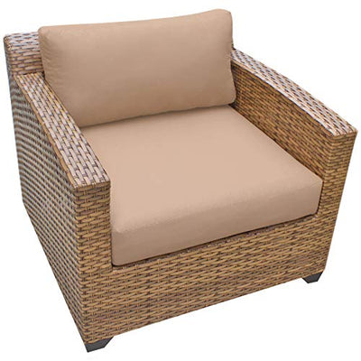 HomeRoots 8 Piece Outdoor Wicker Patio Furniture Set 08d - Wheat, Made of PE Resin with Powder Coated Aluminum Finish