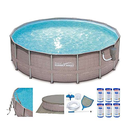 Summer Waves 16in x 48in Elite Wicker Above Ground Pool Set + Pump, 6 Cartridges