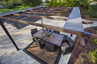 Paragon Outdoor PR11WD2C Backyard Structure Soft Top with Chilean Ipe Frame Valencia Pergola, 11' x 11' Cocoa